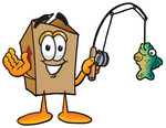 Clip Art Graphic of a Cardboard Shipping Box Cartoon Character Holding a Fish on a Fishing Pole