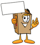 Clip Art Graphic of a Cardboard Shipping Box Cartoon Character Holding a Blank Sign