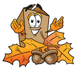 Clip Art Graphic of a Cardboard Shipping Box Cartoon Character With Autumn Leaves and Acorns in the Fall