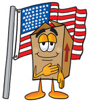Clip Art Graphic of a Cardboard Shipping Box Cartoon Character Pledging Allegiance to an American Flag