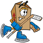 Clip Art Graphic of a Cardboard Shipping Box Cartoon Character Playing Ice Hockey