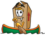 Clip Art Graphic of a Cardboard Shipping Box Cartoon Character Rowing a Boat
