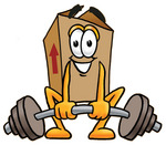 Clip Art Graphic of a Cardboard Shipping Box Cartoon Character Lifting a Heavy Barbell