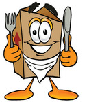 Clip Art Graphic of a Cardboard Shipping Box Cartoon Character Holding a Knife and Fork