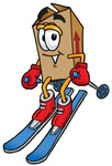 Clip Art Graphic of a Cardboard Shipping Box Cartoon Character Skiing Downhill