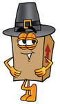Clip Art Graphic of a Cardboard Shipping Box Cartoon Character Wearing a Pilgrim Hat on Thanksgiving