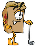 Clip Art Graphic of a Cardboard Shipping Box Cartoon Character Leaning on a Golf Club While Golfing
