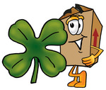 Clip Art Graphic of a Cardboard Shipping Box Cartoon Character With a Green Four Leaf Clover on St Paddy's or St Patricks Day
