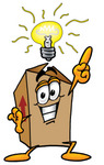 Clip Art Graphic of a Cardboard Shipping Box Cartoon Character With a Bright Idea