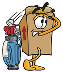 Clip Art Graphic of a Cardboard Shipping Box Cartoon Character Swinging His Golf Club While Golfing