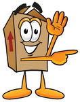 Clip Art Graphic of a Cardboard Shipping Box Cartoon Character Waving and Pointing