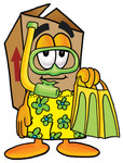 Clip Art Graphic of a Cardboard Shipping Box Cartoon Character in Green and Yellow Snorkel Gear