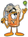 Clip art Graphic of a Frothy Mug of Beer or Soda Cartoon Character Preparing to Hit a Tennis Ball