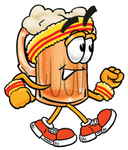 Clip art Graphic of a Frothy Mug of Beer or Soda Cartoon Character Speed Walking or Jogging