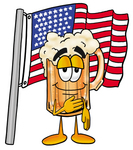 Clip art Graphic of a Frothy Mug of Beer or Soda Cartoon Character Pledging Allegiance to an American Flag