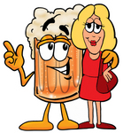 Clip art Graphic of a Frothy Mug of Beer or Soda Cartoon Character Talking to a Pretty Blond Woman