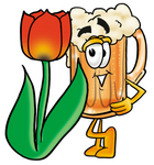 Clip art Graphic of a Frothy Mug of Beer or Soda Cartoon Character With a Red Tulip Flower in the Spring