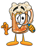 Clip art Graphic of a Frothy Mug of Beer or Soda Cartoon Character Looking Through a Magnifying Glass