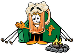 Clip art Graphic of a Frothy Mug of Beer or Soda Cartoon Character Camping With a Tent and Fire
