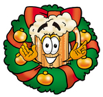 Clip art Graphic of a Frothy Mug of Beer or Soda Cartoon Character in the Center of a Christmas Wreath