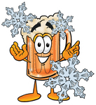 Clip art Graphic of a Frothy Mug of Beer or Soda Cartoon Character With Three Snowflakes in Winter