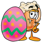 Clip art Graphic of a Frothy Mug of Beer or Soda Cartoon Character Standing Beside an Easter Egg