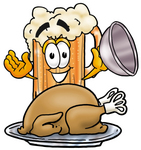 Clip art Graphic of a Frothy Mug of Beer or Soda Cartoon Character Serving a Thanksgiving Turkey on a Platter