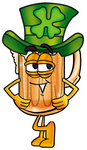 Clip art Graphic of a Frothy Mug of Beer or Soda Cartoon Character Wearing a Saint Patricks Day Hat With a Clover on it