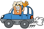 Clip art Graphic of a Frothy Mug of Beer or Soda Cartoon Character Driving a Blue Car and Waving