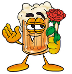 Clip art Graphic of a Frothy Mug of Beer or Soda Cartoon Character Holding a Red Rose on Valentines Day