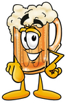 Clip art Graphic of a Frothy Mug of Beer or Soda Cartoon Character Pointing at the Viewer