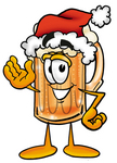 Clip art Graphic of a Frothy Mug of Beer or Soda Cartoon Character Wearing a Santa Hat and Waving