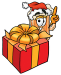 Clip art Graphic of a Frothy Mug of Beer or Soda Cartoon Character Standing by a Christmas Present