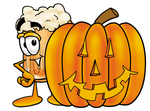 Clip art Graphic of a Frothy Mug of Beer or Soda Cartoon Character With a Carved Halloween Pumpkin