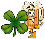 Clip art Graphic of a Frothy Mug of Beer or Soda Cartoon Character With a Green Four Leaf Clover on St Paddy's or St Patricks Day