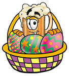 Clip art Graphic of a Frothy Mug of Beer or Soda Cartoon Character in an Easter Basket Full of Decorated Easter Eggs
