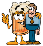 Clip art Graphic of a Frothy Mug of Beer or Soda Cartoon Character Talking to a Business Man