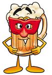 Clip art Graphic of a Frothy Mug of Beer or Soda Cartoon Character Wearing a Red Mask Over His Face