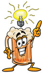 Clip art Graphic of a Frothy Mug of Beer or Soda Cartoon Character With a Bright Idea