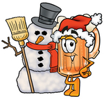 Clip art Graphic of a Frothy Mug of Beer or Soda Cartoon Character With a Snowman on Christmas
