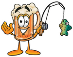 Clip art Graphic of a Frothy Mug of Beer or Soda Cartoon Character Holding a Fish on a Fishing Pole