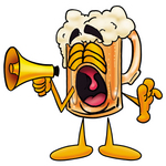 Clip art Graphic of a Frothy Mug of Beer or Soda Cartoon Character Screaming Into a Megaphone