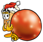 Clip art Graphic of a Frothy Mug of Beer or Soda Cartoon Character Wearing a Santa Hat, Standing With a Christmas Bauble