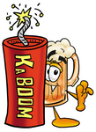 Clip art Graphic of a Frothy Mug of Beer or Soda Cartoon Character Standing With a Lit Stick of Dynamite