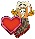 Clip art Graphic of a Frothy Mug of Beer or Soda Cartoon Character With an Open Box of Valentines Day Chocolate Candies