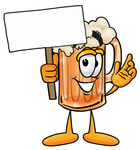 Clip art Graphic of a Frothy Mug of Beer or Soda Cartoon Character Holding a Blank Sign