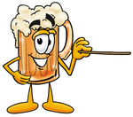 Clip art Graphic of a Frothy Mug of Beer or Soda Cartoon Character Holding a Pointer Stick