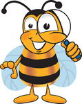 Clip art Graphic of a Honey Bee Cartoon Character Looking Through a Magnifying Glass