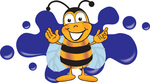 Clip art Graphic of a Honey Bee Cartoon Character Logo With Blue Paint Splatter