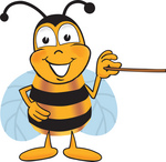Clip art Graphic of a Honey Bee Cartoon Character Holding a Pointer Stick